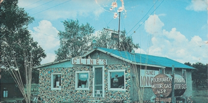 Cline's old bait shop with painted rocks.