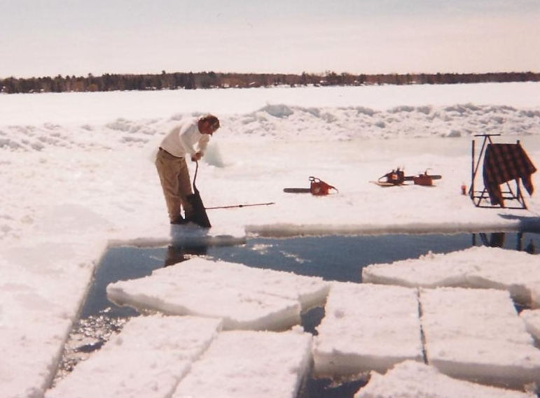 Cutting ice out of Birch Lake.