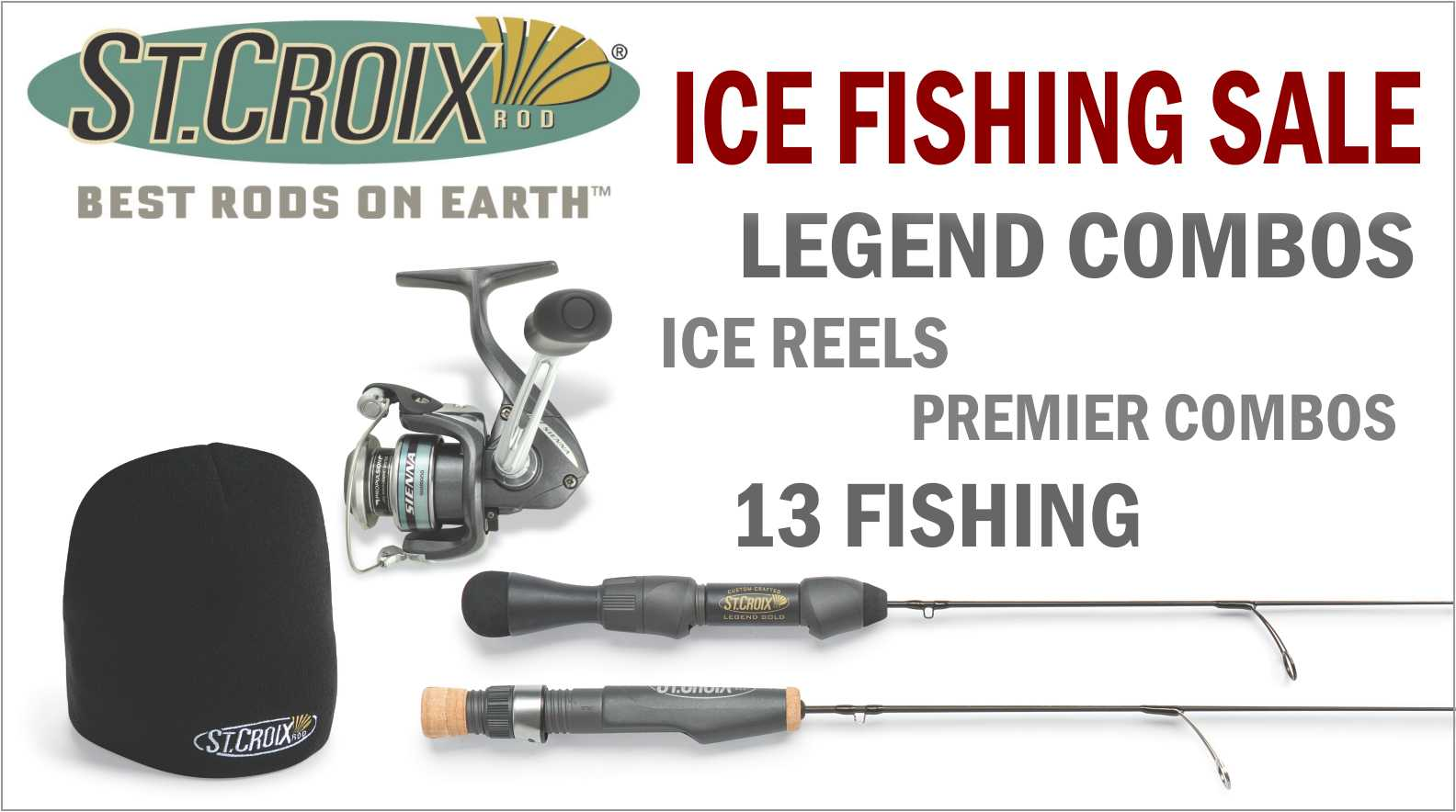 Ice Fishing sale: Includes St. Croix Ice Rods, Shimano and Mitchell reels.
